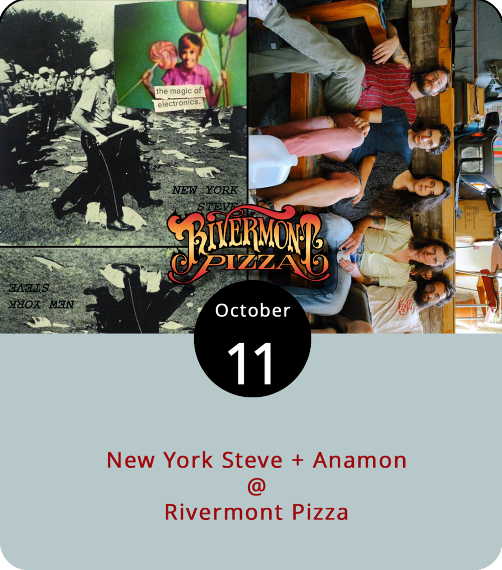 Sometimes all it takes is a band's name to pique our interest. We can't say we know much about New York Steve, other than that it's a great name for a band from Lynchburg and they are on a tour with a band out of Rochester, NY called Anamon. Now, we do know something about Anamon: they're a female-fronted trio who lean in the general direction of energetic garage punk and they've got a new album called  Purple, Green, and Yellow  that you can listen to  here . Anamon and New York Steve play tonight at Rivermont Pizza (2496 Rivermont Ave.) from 11 p.m. until closing. There's a $3 cover; call (434) 846-2877 or click  here  for more info.