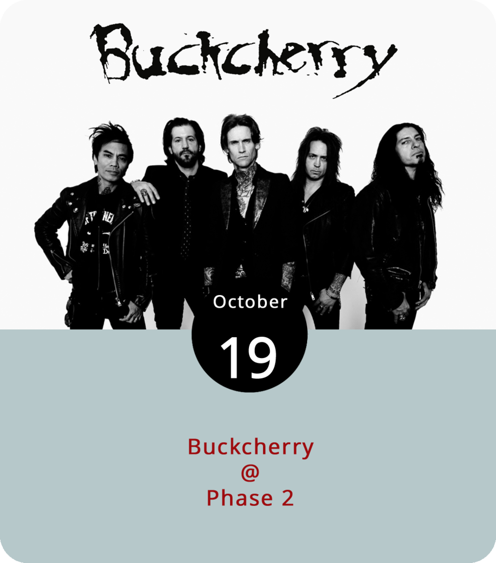 If you loved the cocaine, loved the cocaine, loved the cocaine the first time around, maybe you won't mind it in its second, third, or fourth iteration. The Anaheim-by-way-of-the-Sunset Strip hard-rock band Buckcherry have churned through nearly a dozen members since they first emerged in 1999, but original singer Josh Todd and founding members Jonathan Brightman (bass) and Devon Glenn (drums) appear to be on board for the reconfigured band's current tour, which swings into Lynchburg for a stop this evening at Phase 2 (4009 Murray Pl.). Doors are at 7 p.m., and tickets are $23 for this all-ages show. There are also VIP Lounge tickets for $65. Click  here  for tickets or call (434) 846-3206.