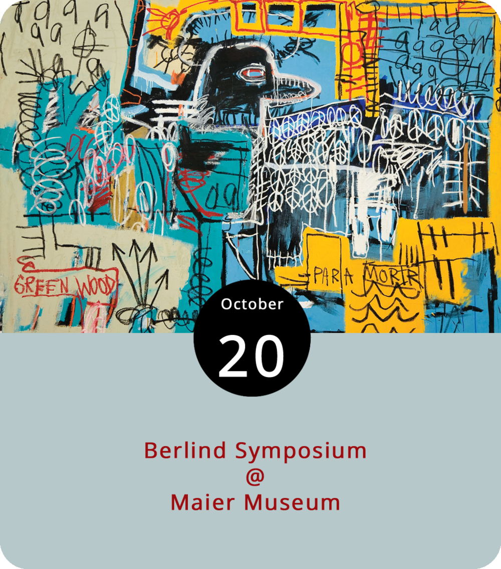 """The Maier Museum (1 Quinlan St.) at Randolph College celebrated the opening of """"Zeitgeist: The Art Scene of Teenage Basquiat"""" a week late, thanks to the weather Hurricane Florence brought to these parts a month ago. And they moved the annual Berlind Symposium, featuring several events related to the exhibit, back a month. The delayed symposium gets underway today with an 11 a.m. artist talk by Lee Quiñones, a contemporary of Jean-Michel Basquiat who was known for his graffiti art in the '80s. At 2 p.m., critic Luc Sante, who's written far and wide about American art and culture and who penned the Grammy-winning liner notes for the 1997 reissue of Smithsonian Folkways' legendary  Anthology of American Folk Music , will read from his work. And at 7 p.m., the museum will present a screening of Sara Driver's 2017 documentary  Boom For Real: The Late Teenage Years of Jean-Michel Basquiat . Berlind Symposium events are free and open to the public. Call (434) 947-8136 or click  here  for more info."""