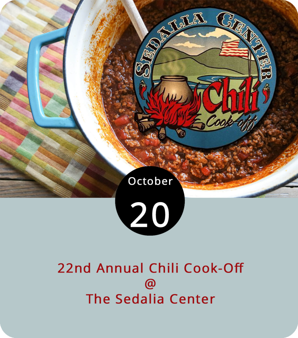 To bean or not to bean? That is the Chili Cook-Off question, or one of them. Yes, it's time once again for the annual Chili Cook-Off at Big Island's lovely Sedalia Center (1108 Sedalia School Rd.). The mild and spicy culinary event runs from 11:30 a.m. until 5 p.m. Tastings begin at noon, and there will be beer and other drinkables for sale, as well as music by local bands Rendezvous and Rare Form. No pets or coolers, but you can bring blankets, lawn chairs, and your own tasting spoon if you please. Tickets are $10 in advance, $15 at the gate, and it's free for children 12 and under. Click  here  for more info or call (434) 299-5080.