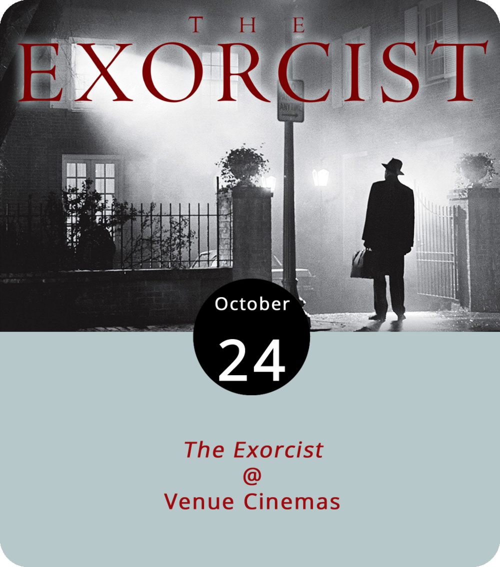 When  The Exorcist  was released in 1973, it was likely the first film in danger of getting an X rating from the Motion Picture Association of America and a thumbs up from Catholic Church. That's just some of the lore surrounding this true classic of American horror. Directed by William Friedkin, whose film  The French Connection  had won him the Oscar for Best Director and Best Picture just two years prior,  The Exorcist  placed a truly terrifying supernatural tale of demonic possession and a cast featuring a young Ellen Burstyn, an even younger Linda Blair, and Ingmar Bergman veteran Max von Sydow in the hands of a skilled and innovative filmmaker who wasn't afraid to circumvent convention.  The Exorcist  screens today and tomorrow at 12:15, 3:15, 6:40, and 9:35 p.m. as part of the month-long Fright Fest at Venue Cinemas (901 Lakeside Dr.). Click  here  or call (434) 845-2398.