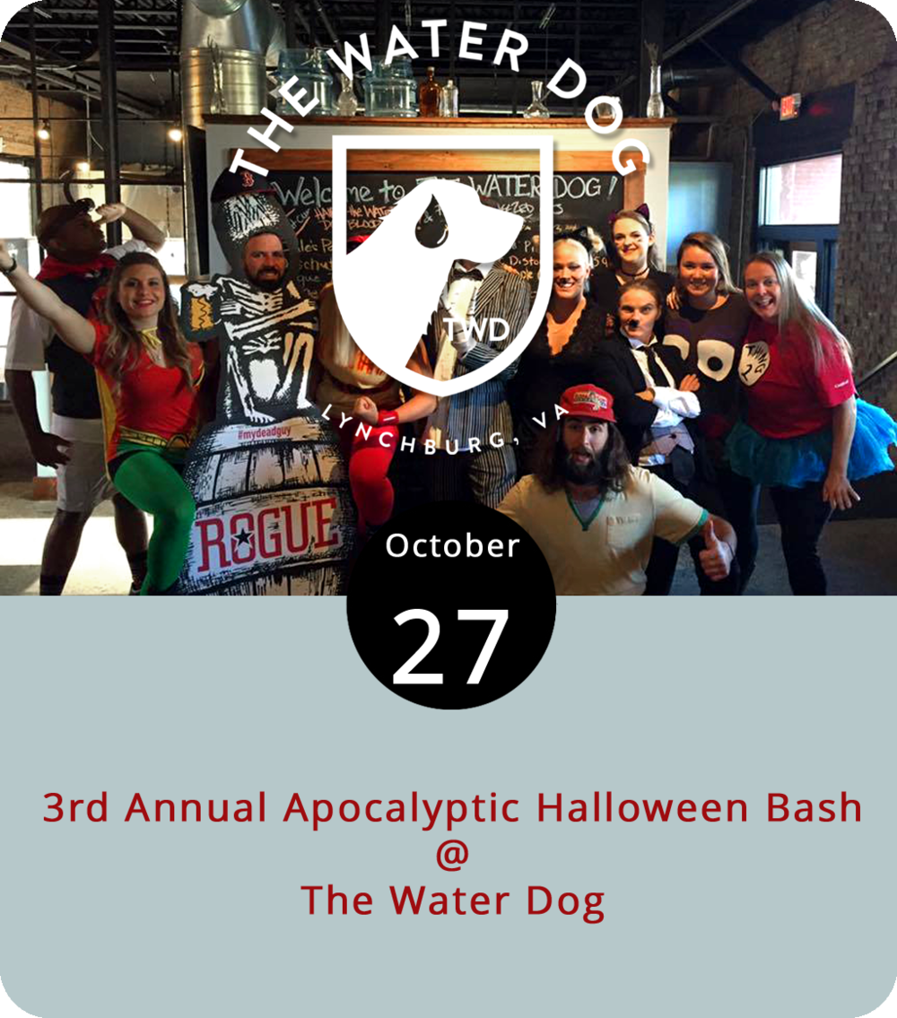 Just in case you need a little nudge in the general direction of getting your Halloween costume together before All Hallows' Eve, here's a little incentive. This evening, the Water Dog (1016 Jefferson St.) hosts its 3rd annual Apocalyptic Halloween Bash from 9 p.m. until 1 a.m. It's a costume party with prizes for Best Couple/Group Costume, Most Creative Costume, and Scariest Costume. For more info, click  here  or call the Water Dog at (434) 333-4681.