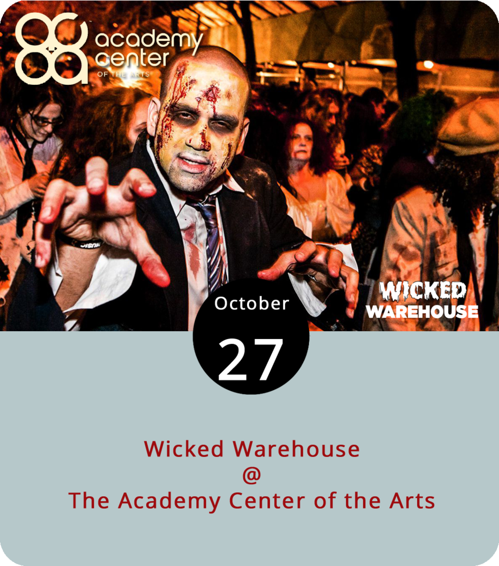The Academy Center of the Arts (519 Commerce St.) is turning its Joy & Christian Lynch Theatre into a Halloween-appropriate Wicked Warehouse for a costume and dance party in advance of All Hallows' Eve. Local cover band the Dundies will be on hand, perhaps in costume, to entertain and hopefully play a few Halloween-themed songs. And there will be spooky drinks too. Awards for best and most original costumes will be presented. Tickets are $10. It should be a wicked good time, as they say in Boston. Click  here  or call (434) 333-4681.
