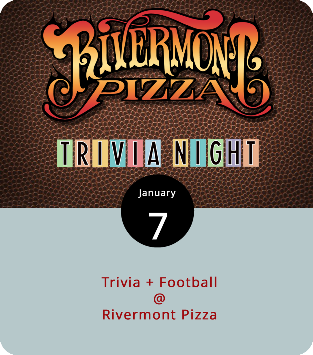 In what year did the Seattle Seahawks play their first season as an official NFL team, and where did they play their first home game? Here's a hint: it was America's bicentennial year and the University of Washington college football team also played their home games in that stadium. So there's some trivia for you on what will be a weekly night of trivia competition at Rivermont Pizza (2496 Rivermont Ave.). It'll also be a night of football, with the Seahawks taking on the Chicago Bears at 8:15 p.m. We recommend ordering wings if they've still got any, although the wood-fired pizza is also a good call. Trivia starts at 9 p.m. For more info, call (434) 846-2877, and check out the RP menu  here .