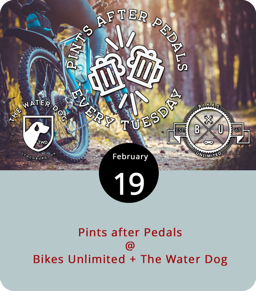 Expect a crowd on the Blackwater Creek Trail every Tuesday at 6 p.m., which is when Bikes Unlimited (1312 Jefferson St.) hosts its weekly Pints after Pedals ride through November 27. The route start downtown and continues uphill to the edge of the trail at Langhorne Road, which is about a five- or six-mile ride. After the pedaling, riders are invited to the Water Dog (1016 Jefferson St.) for pints. Bike rentals are free for this event and all comers are welcome. Click here  or call (434) 385-4157.