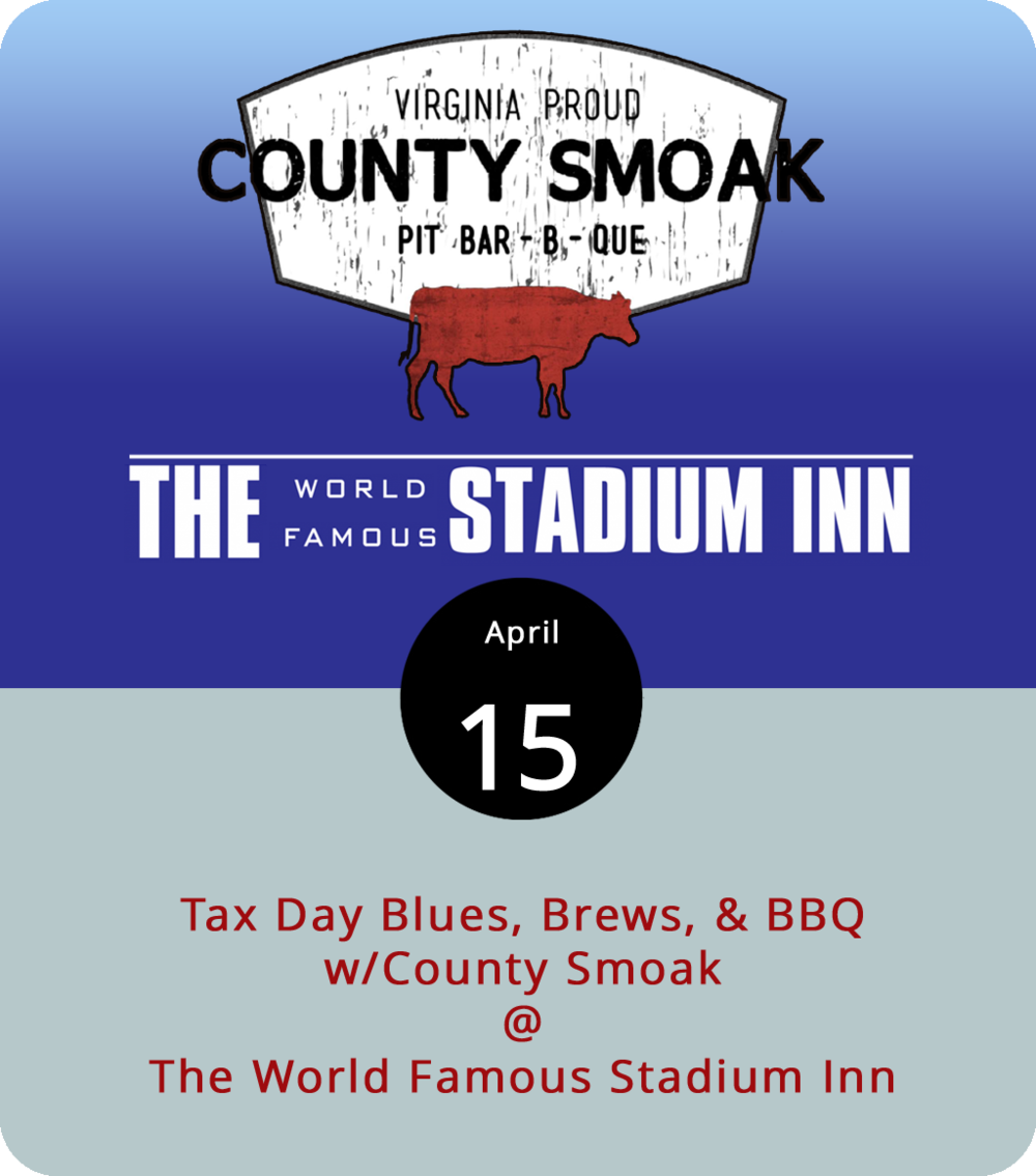 If you haven't had a chance to try the thick-cut, fried bologna, egg, and cheese breakfast sandwich at the World Famous Stadium Inn (3007 Fort Ave.), we're going to suggest waiting for another day. Today, in honor of the IRS, County Smoak will be have its smokers going from 11:30 a.m. until 7:30 p.m. right outside of the Stadium Inn, where the bar will be providing libations and such. Pit-master Ken Hess is planning to have ribs, brisket, beans, potato salad, and his unique blue cheese and bacon coleslaw on the menu. Click  here  for more info or call the Stadium Inn at (434) 616-4199.