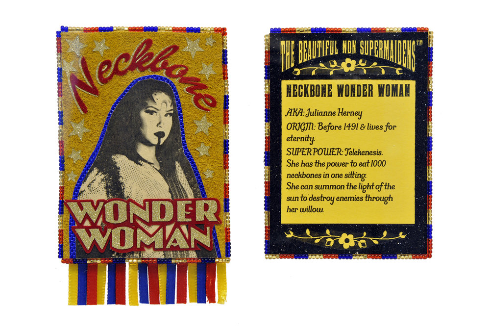 Joi T. Arcand, The Beautiful NDN SuperMaidens TM Trading Cards; Neckbone Wonderwoman (detail), mixed media, 2016, courtesy of the artist.