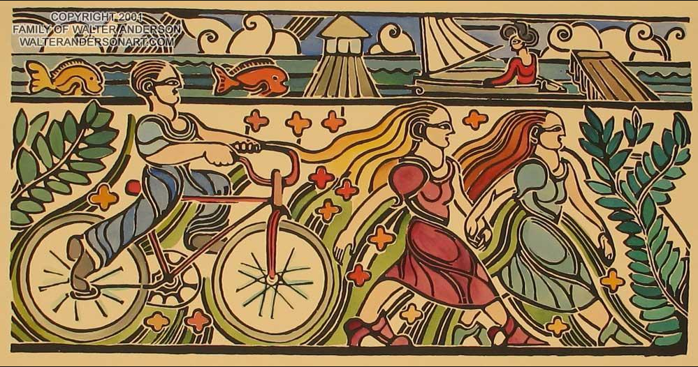 """Biloxi Beach Boy Cycling"" This is a bit more representative of Anderson's work and I'd like to think he finished the K&B sketches in the same way.  If anyone knows where to see them, please let me know."
