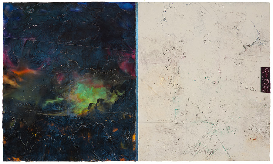 Pluto Atlas II, 2016  encaustic and oil on panel 30 x 55.5 inches. Available at   Gremillion Fine Art & Co., Houston