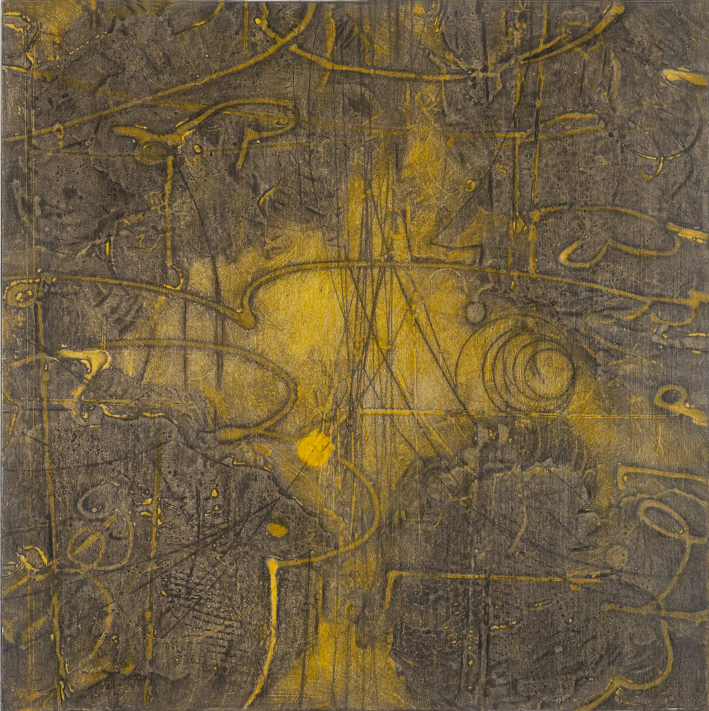 Sigma Self-Energy 4 , encaustic collagraph monoprint, Cretacolor and medium mounted on panel 10 x 10 inches