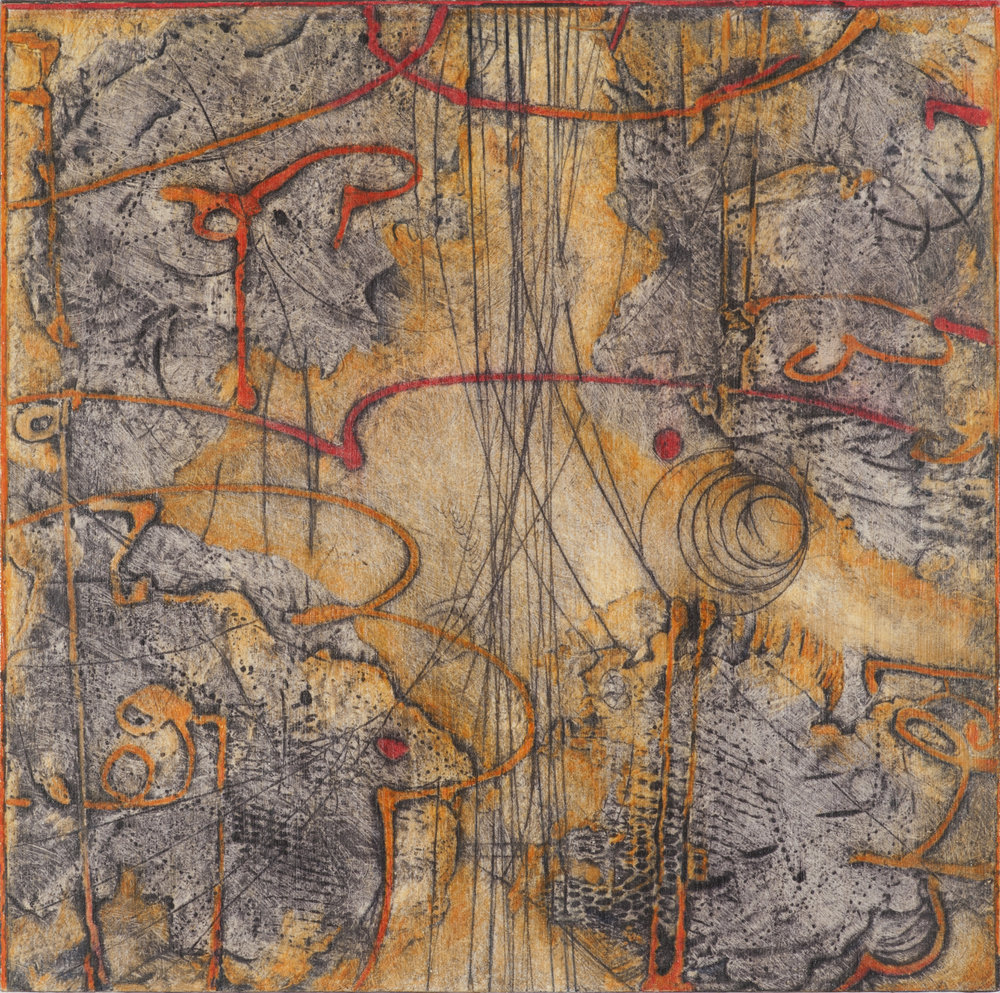 Sigma Self-Energy 2 , encaustic collagraph monoprint, Cretacolor and medium mounted on panel 10 x 10 inches