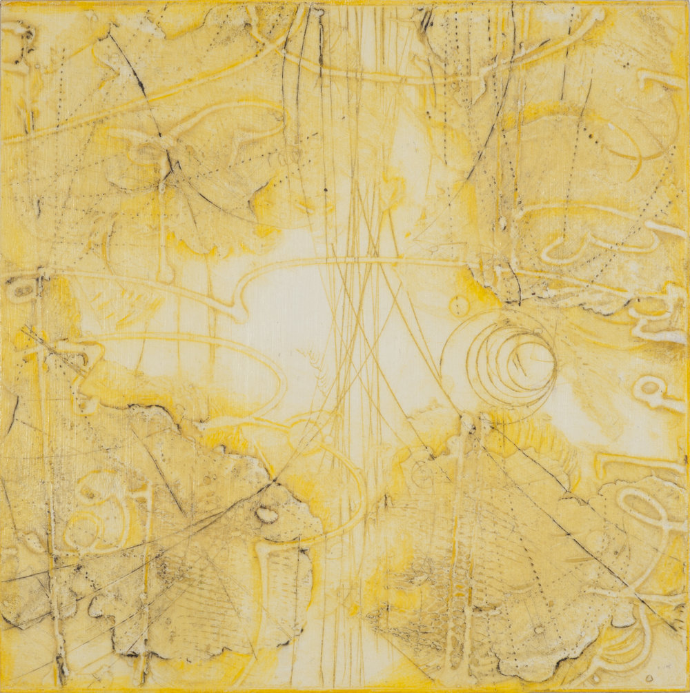 Sigma Self-Energy 5 , encaustic collagraph monoprint, Cretacolor and medium mounted on panel 10 x 10 inches