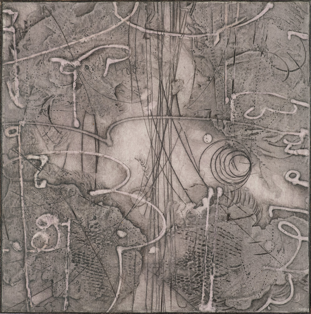 Sigma Self-Energy 8 , encaustic collagraph monoprint, Cretacolor and medium mounted on panel 10 x 10 inches