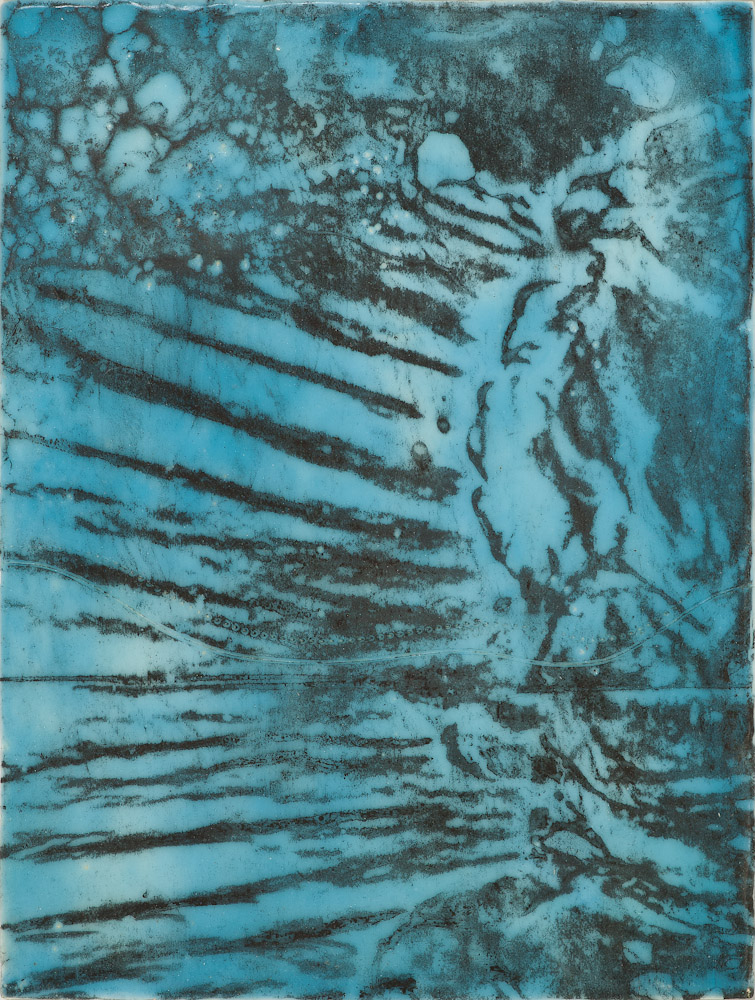 Glacier Chart 8 ., 2016 graphite transfer on encaustic  10.5 x 7.5 inches