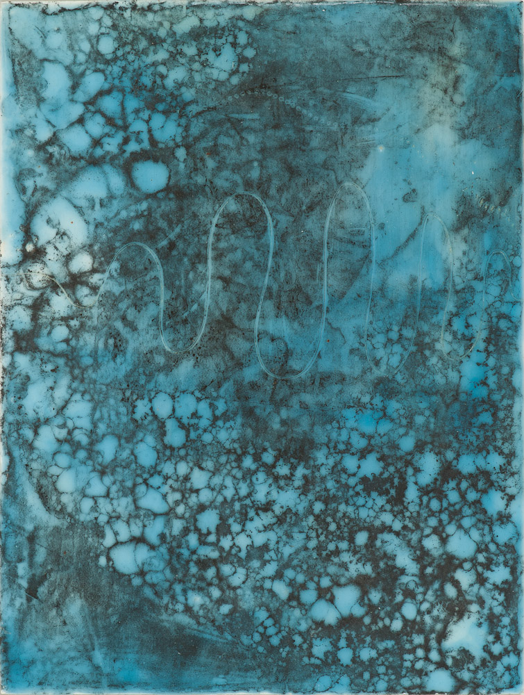 Glacier Chart 9 ., 2016 graphite transfer on encaustic 10.5 x 7.5 inches