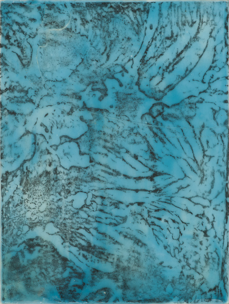 Glacier Chart 11 ., 2016 graphite transfer on encaustic 10.5 x 7.5 inches