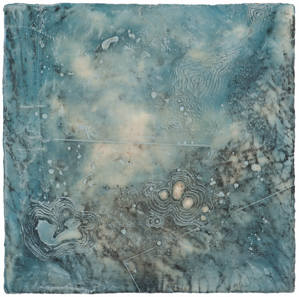 Glacier Chart 14 ., 2016 graphite transfer, encaustic and oil on panel 10 x 10 inches   Available at Butters Gallery, Portland