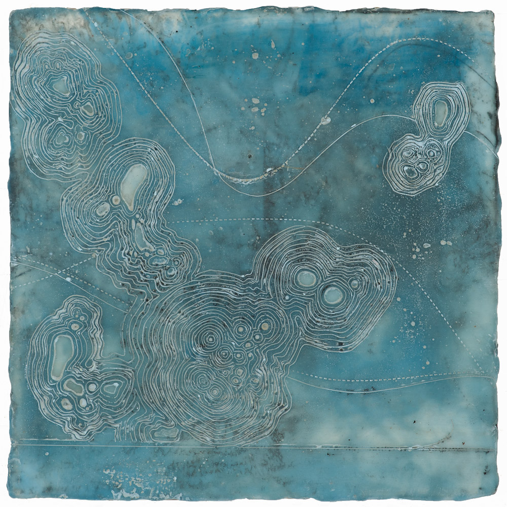 Glacier Chart 15 ., 2016 graphite transfier, encaustic and oil on panel 10 x 10 inches   Inquire for price