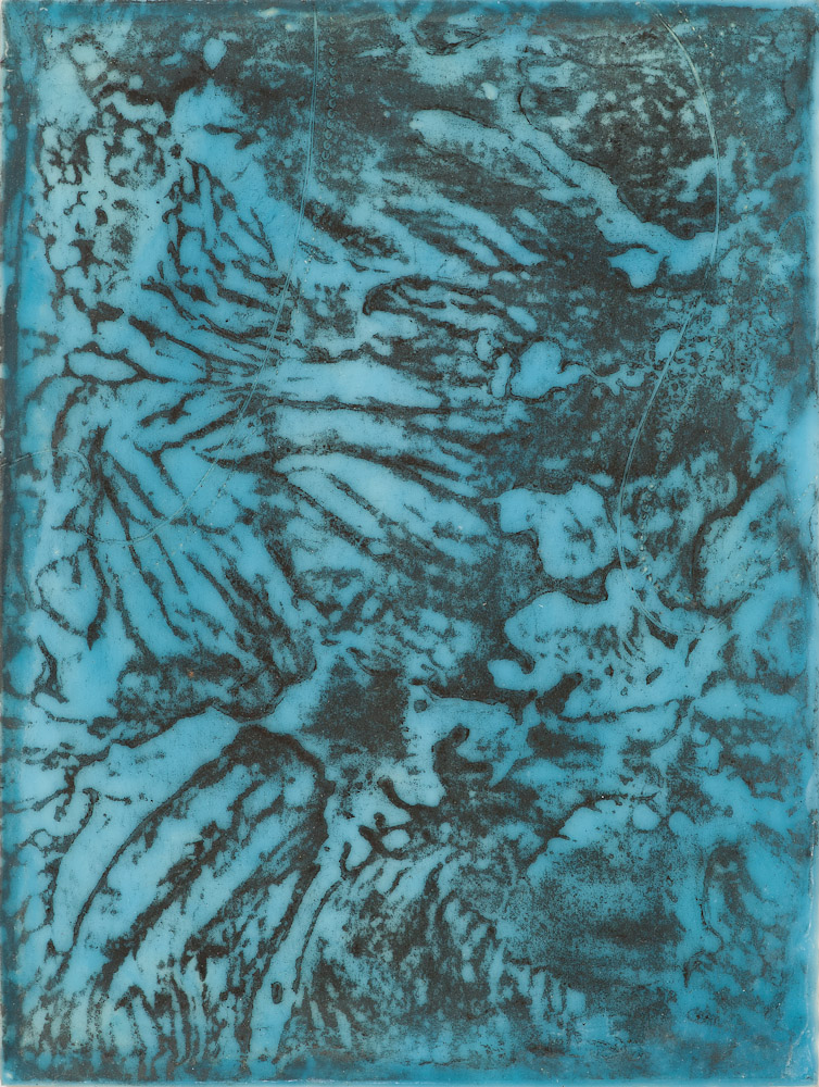 Glacier Chart 5 ., 2016 graphite transfer on encaustic 10.5 x 7.5 inches
