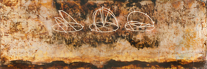 Bird Migration Map, 1997  encaustic and oil on panel 30 x 96 inches   Corporate Collection Boly Welch