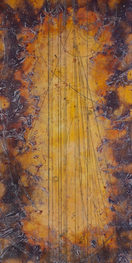 Collision Transits, 2012  encaustic and oil on panel 24 x 48 inches.   Inquire for price.