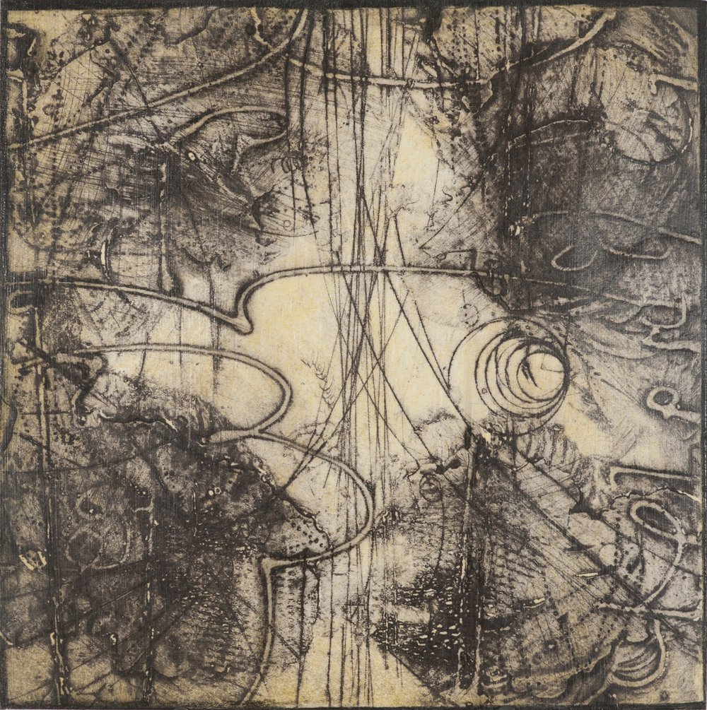 Sigma Self-Energy 6 , encaustic collagraph monoprint, Cretacolor and medium mounted on panel 10 x 10 inches