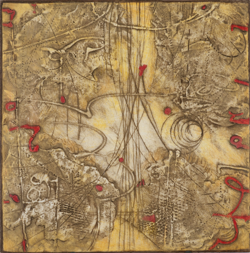 Sigma Self-Energy 3 , encaustic collagraph monoprint, Cretacolor and medium mounted on panel 10 x 10 inches
