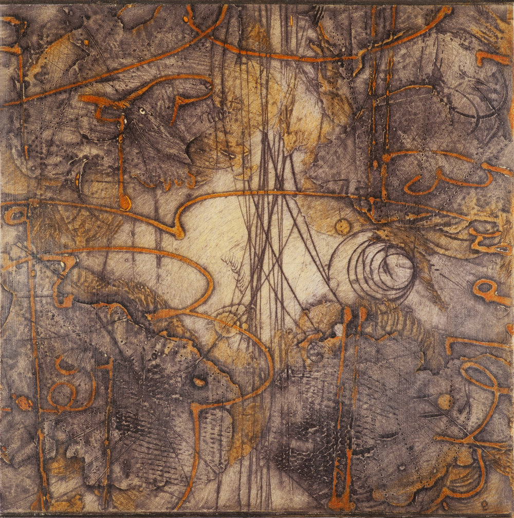 Sigma Self-Energy 9 , encaustic collagraph monoprint, Cretacolor and medium mounted on panel 10 x 10 inches