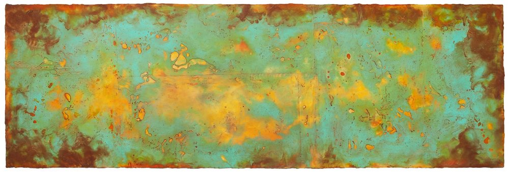 Genesis II, 2016  encaustic and oil on panel 24 x 70 inches. Available at   Butters Gallery, Portland