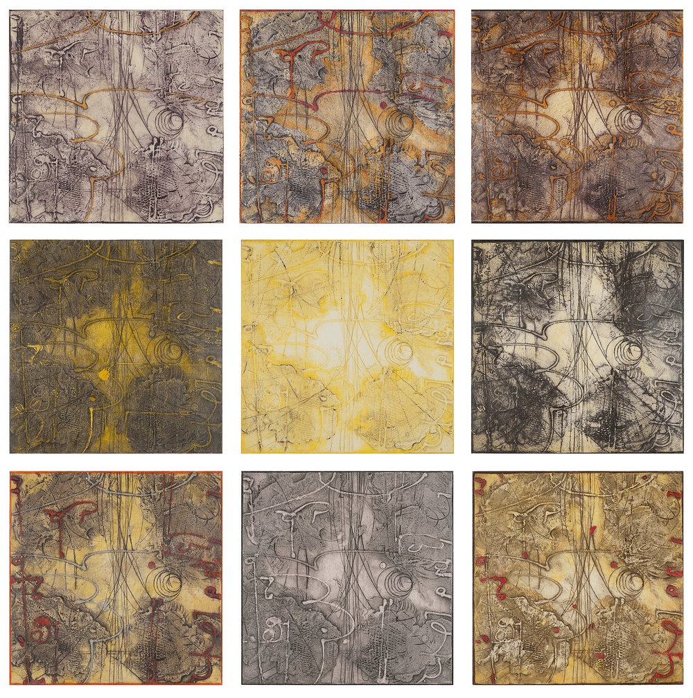 Sigma-Self Energy 1-9, 2016 mounted encaustic collagraph monoprrints with color pencil each 10 x 10 inches