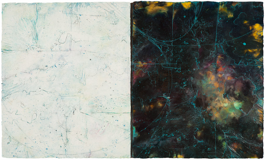 Pluto Atlas III, 2017 encaustic and oil on panel. My Pluto Atlas series is based on the Pluto Flyby photos that revealed the planet is 70% rock and 30% glacier.  Studio Inventory