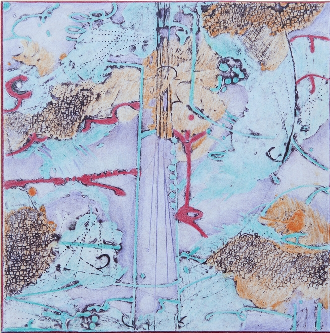 Lost Map V , encaustic collagraph monotype, Cretacolor and medium mounted on board 10 x 10 inches.  Studio Inventory