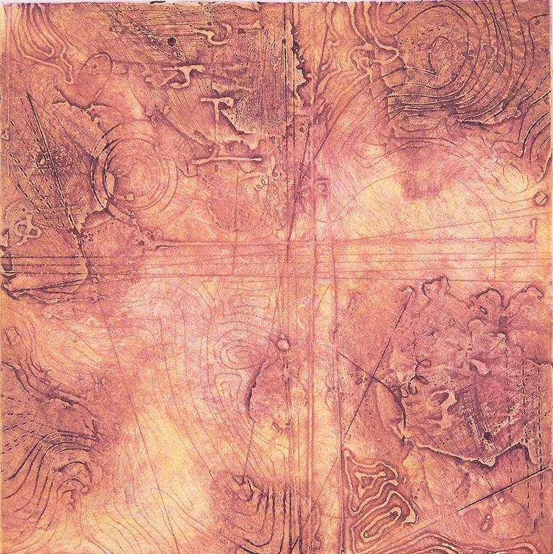 Contour Study 1, encaustic collagraph monoprint, Cretacolor on paper 10 x 10 inches. Available at   Warnock Fine Arts