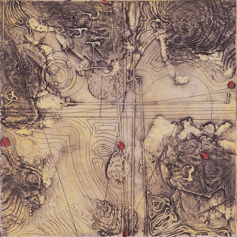 Contour Study 2, encaustic collagraph monoprint, Cretacolor on paper 10 x 10 inches.Available at   Warnock Fine Arts