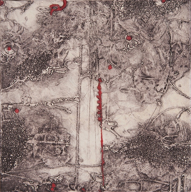 Lost Map 10 , encaustic collagraph monoprint on paper 10 x 10 inches Available at   Gremillion & Co. Fine Art