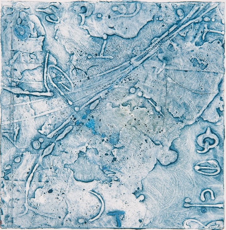 Territory Study 4 , encaustic collagraph monotype on paper 6 x 6 inches. Available at   Warnock Fine Arts