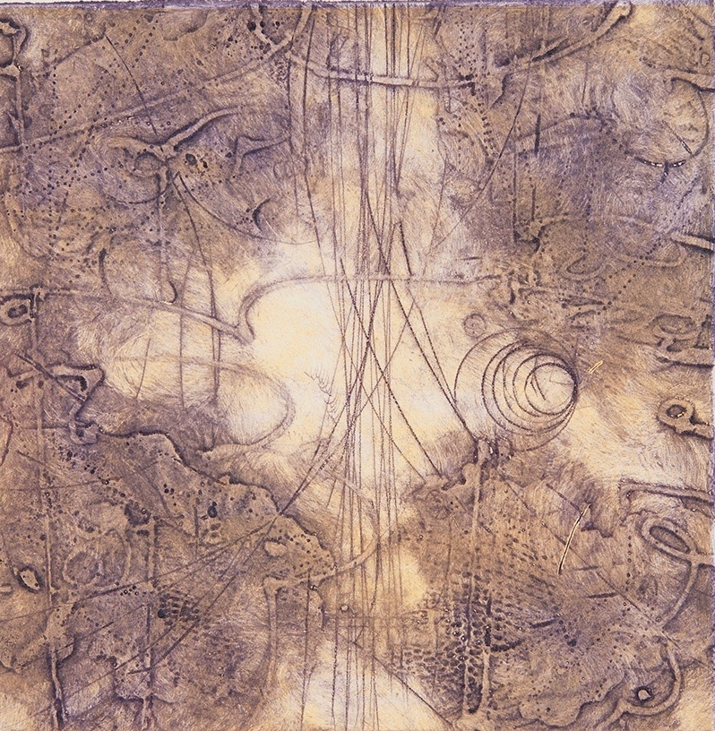 Sigma Self-Energy 12 , encaustic collagraph monoprint on paper 10 x 10 inches.Available at   Warnock Fine Arts