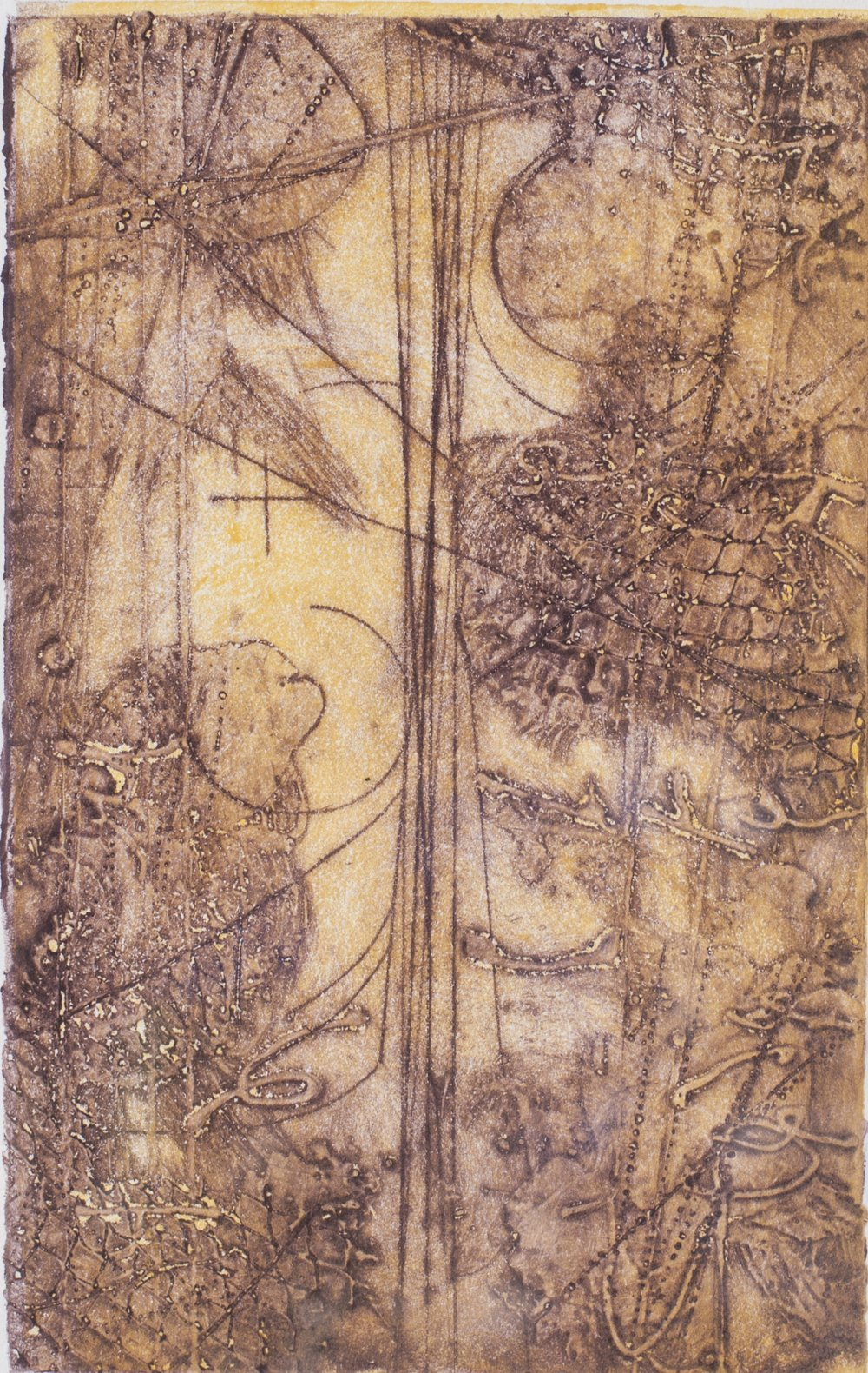 Collision Transit Study 6 , encaustic collagraph monotype on paper 11 x 9 inches.   Studio Inventory