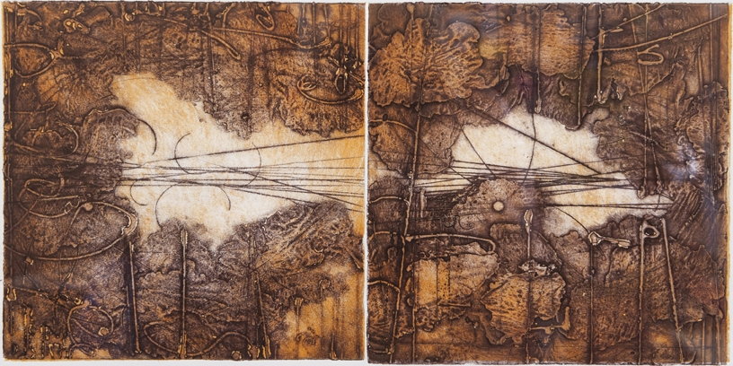Traces & Transits Print 2013 , encaustic collagraph monotype on paper 10 x 20 inches.