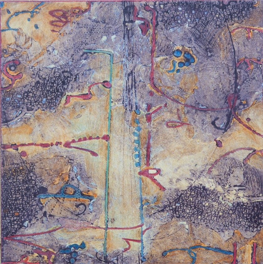 Lost Map IV,  encaustic collagraph, Cretacolor and medium mounted on board 10 x 10 inches.  Studio Inventory