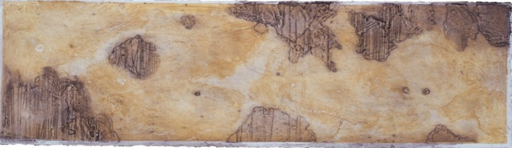 Cartography Study 3,  encaustic collagraph monoprint on paper 8 x 21 inches.   Studio Inventory