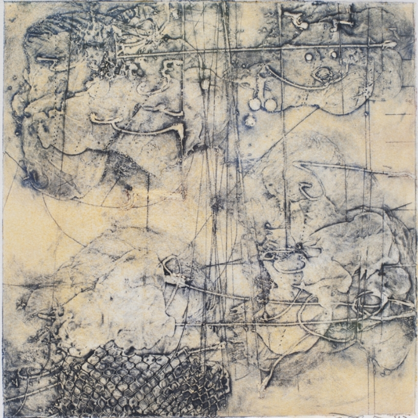Sigma 1 , encaustic collagraph monotype on paper 10 x 10 inches