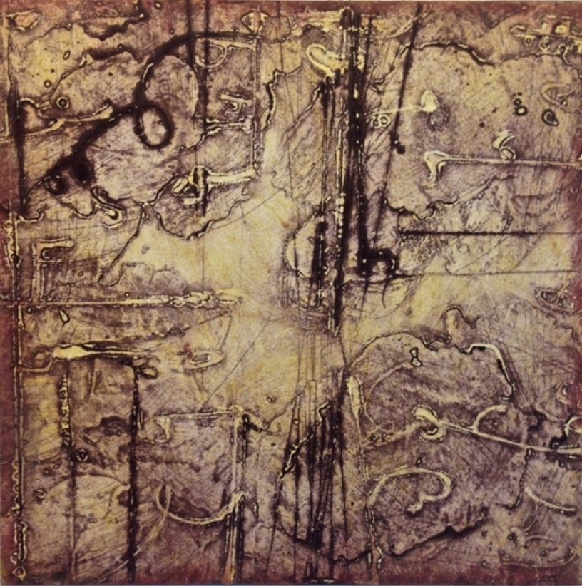 Sigma 4 , encaustic collagraph monotype, Cretacolor and medium mounted on panel 10 x 10 inches.  Studio Inventory