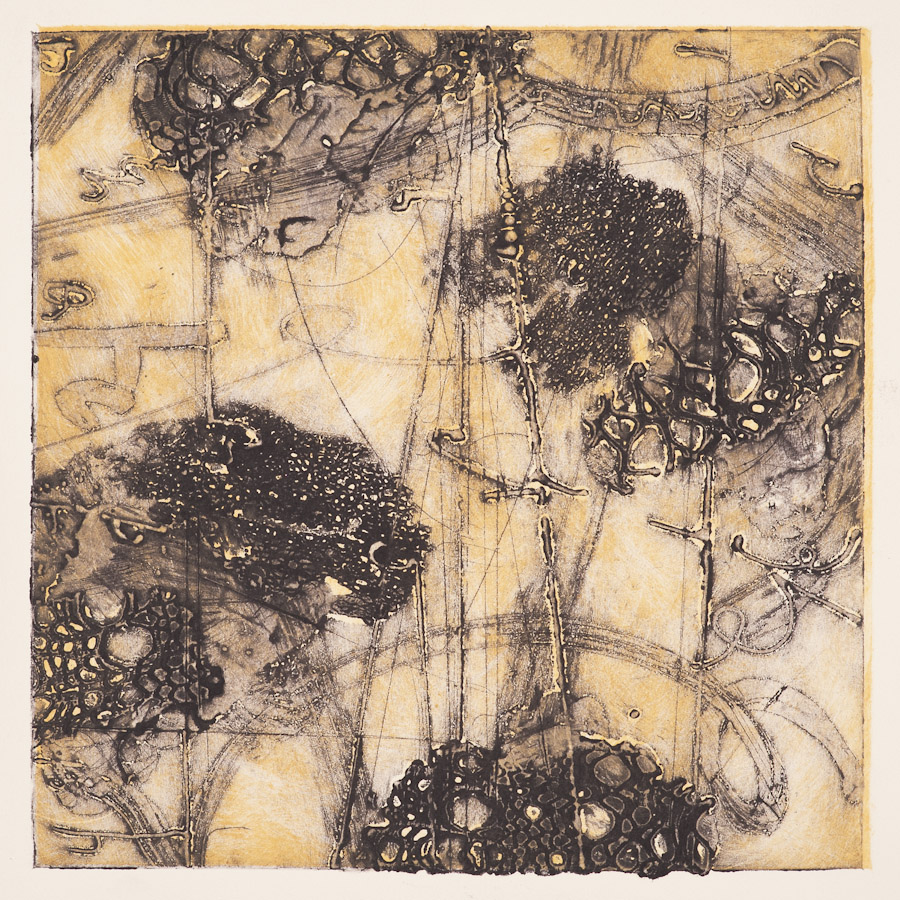 Fusion 2,  encaustic collagraph monotype on paper 10 x 10 inches.   Studio Inventory