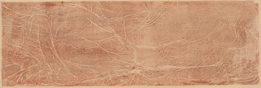 Red Lines & Cracks, 2017  monotype on Sakomoto paper 8 x 24 inches.   Studio Inventory
