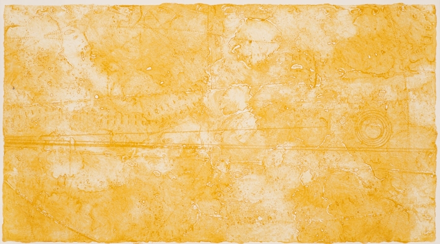 Summer Contours, 2017  encaustic collagraph mono print 10 x 20 inches.   Studio Inventory