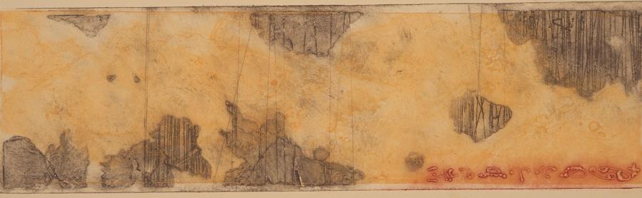Erosion 1, 2017  encaustic collagraph monoprint on buff paper 8 x 21 inches.   Studio Inventory