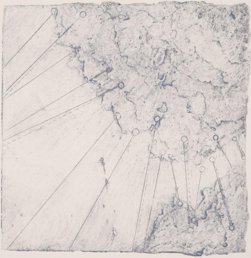 Calving 4, 2017  encaustic collagraph monoprint 8 x 8 inches.  Studio Inventory