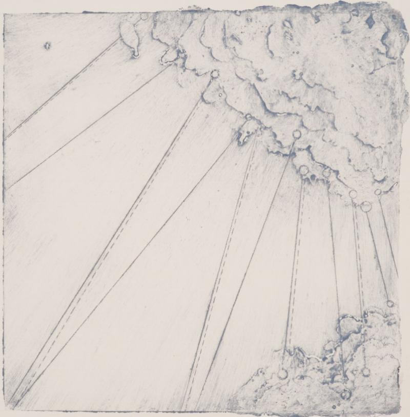 Calving 5, 2017  encaustic collagraph monoprint 8 x 8 inches. Studio Inventory