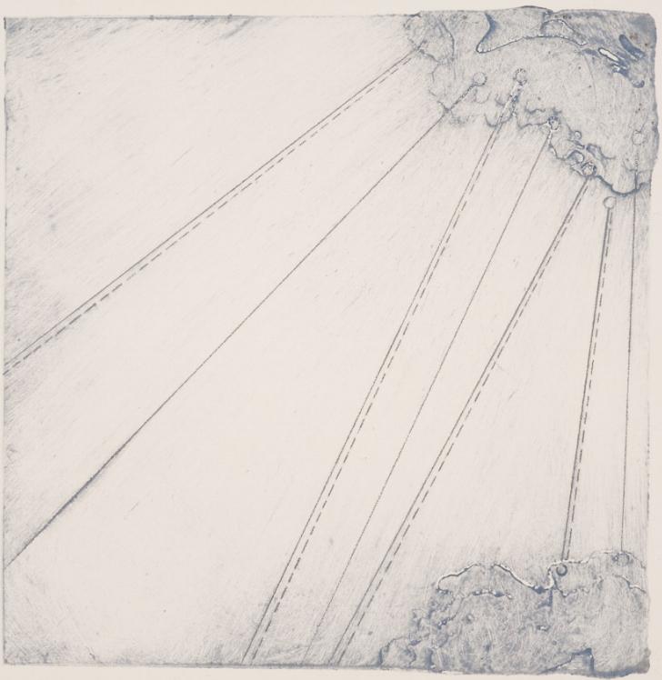 Calving 6, 2017  encaustic collagraph monoprint 8 x 8 inches. Studio Inventory